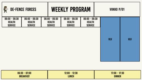 An early prototype of the Service Calendar. Intti armeija army soldier kalenteri päiväohjelma p-kausi