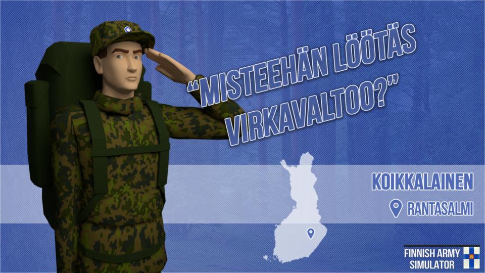 Finnish Army Simulator: Koikkalainen, Rantasalmi, sotilas, sotamies, maastopuku, Suomen armeija, intti