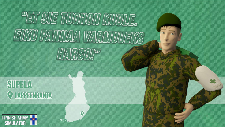 Finnish Army Simulator: Supela, Lappeenranta, sotilas, lääkintämies, Suomen armeija, intti