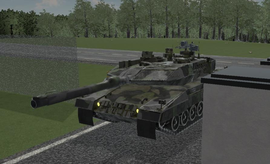 Panssarivaunu saapuu kasarmialueelle.